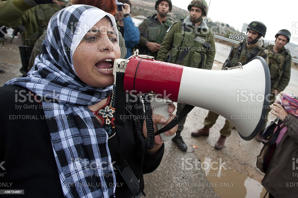 Palestinians Protest Israeli Wall and West Bank Settlements stock photo