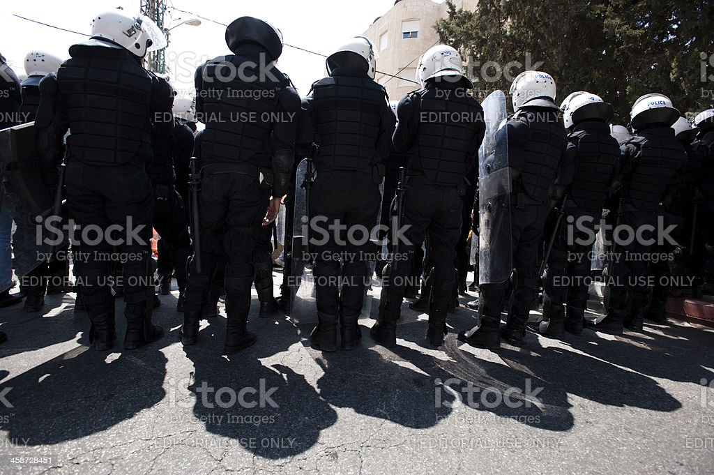 Palestinians riot police royalty-free stock photo