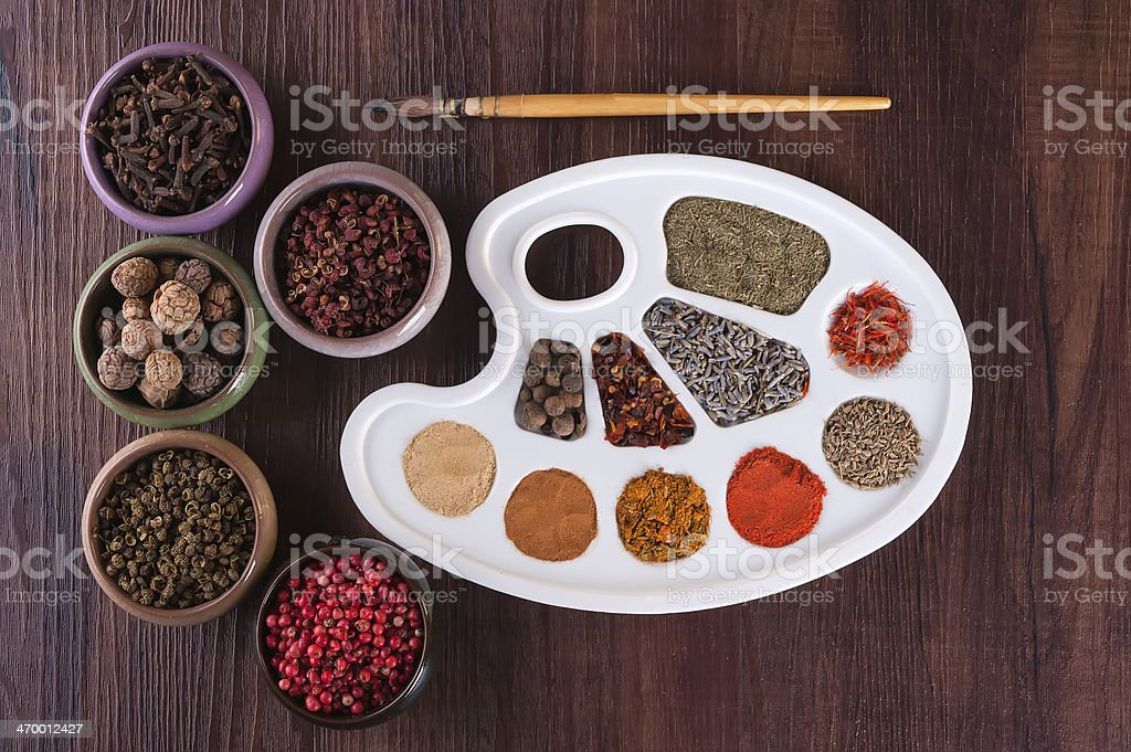Palette colors of herbs and spices royalty-free stock photo