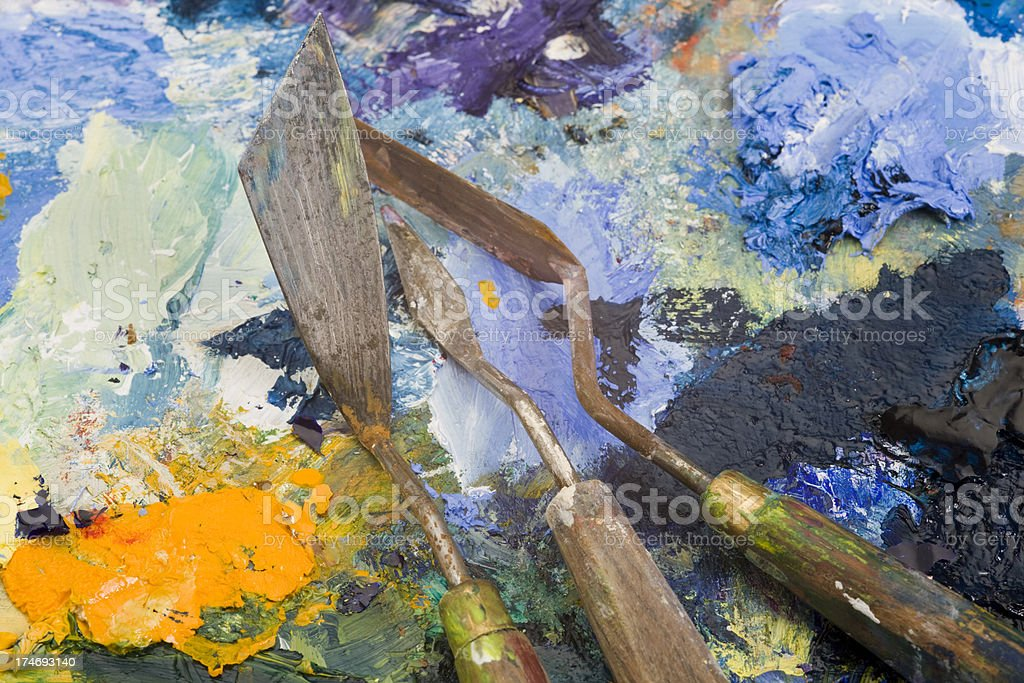 Palette knives stock photo