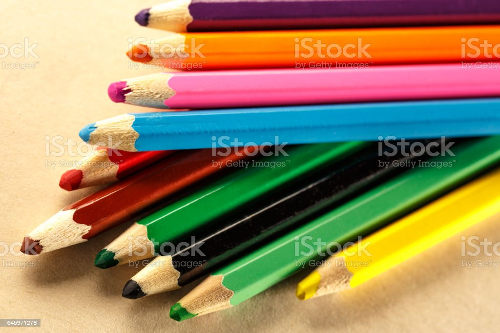 Palette of colorful pencils stock photo