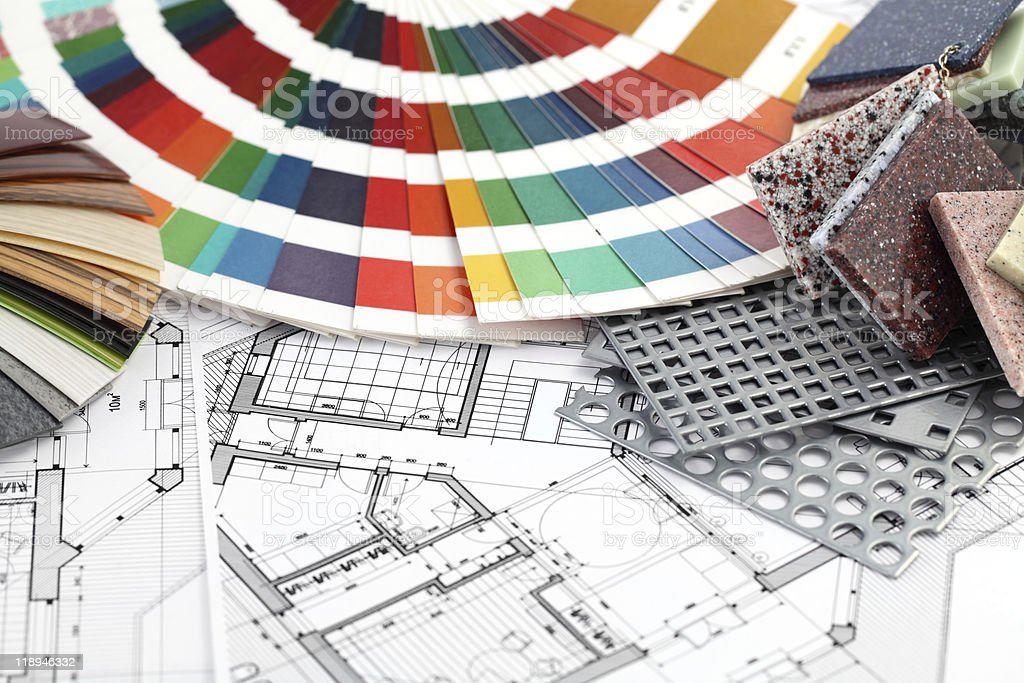 palette of colors, furnishing materials & plan royalty-free stock photo