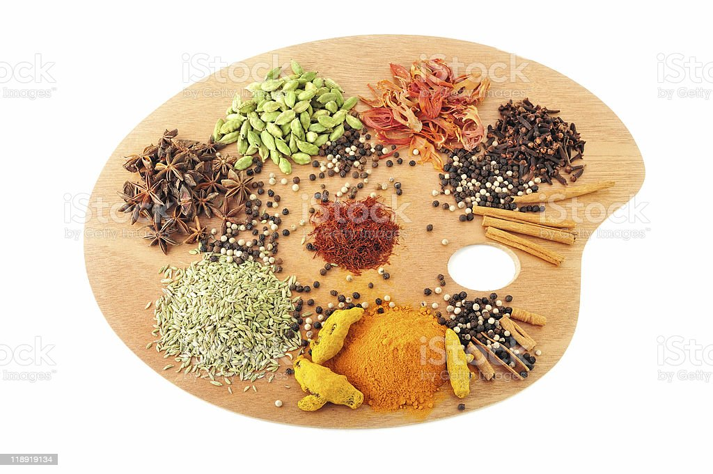 Palette of spices royalty-free stock photo