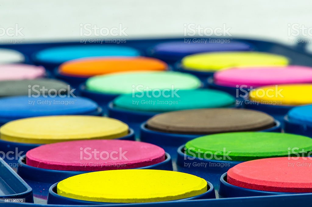 palette of water-colours stock photo