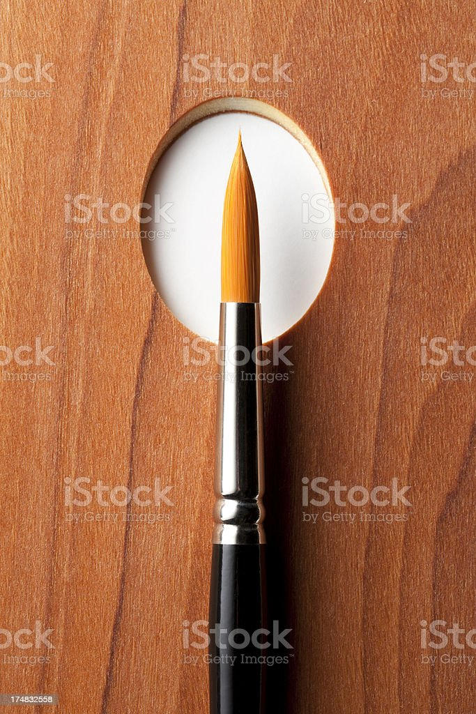 Palette with artist brush royalty-free stock photo