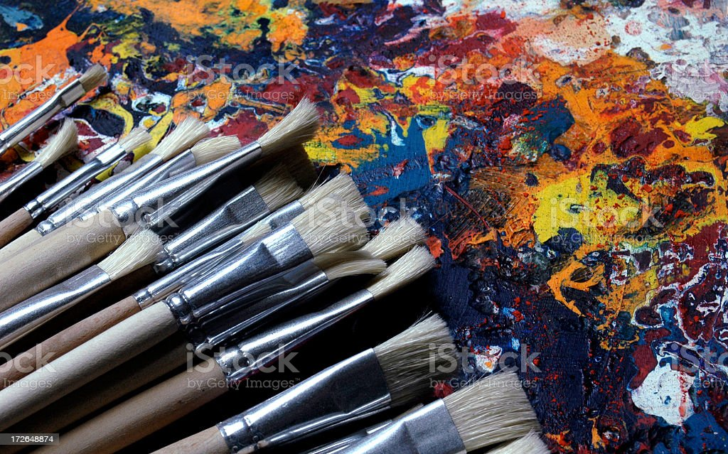 Palette with unused brushes royalty-free stock photo