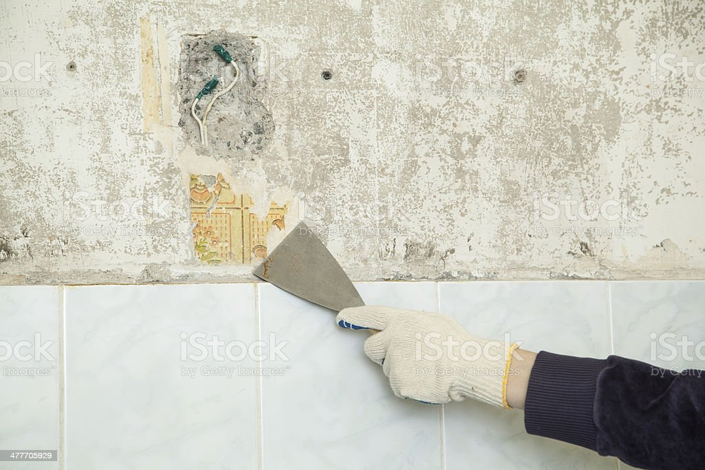 palette-knife in hand royalty-free stock photo