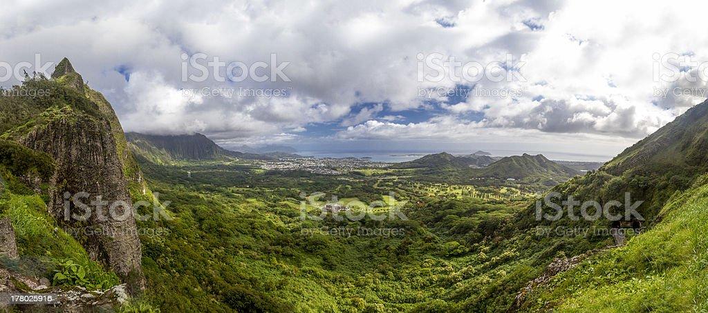 Pali Lookout Oahu Hawaii panaroma stock photo