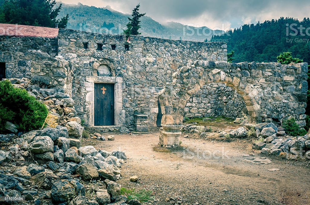 Palio Pili ruins, Greece stock photo