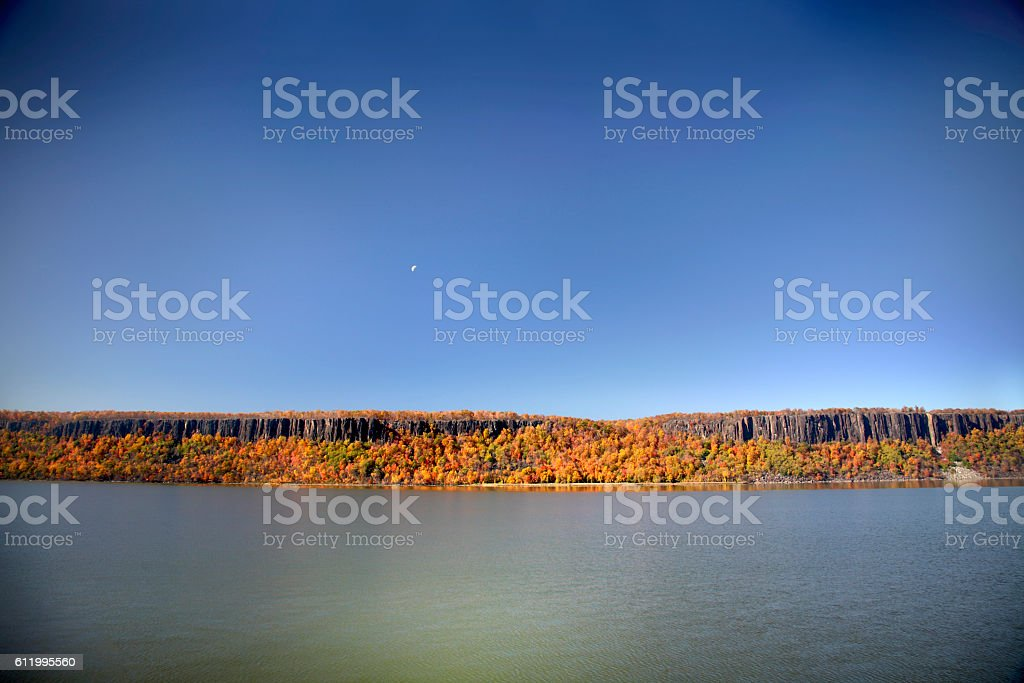 Palisades Cliffs along the Hudson River in Autumn stock photo