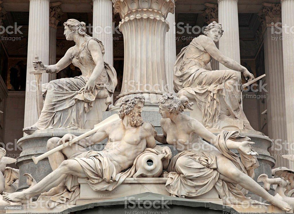 Pallas Athena Fountain in Vienna stock photo