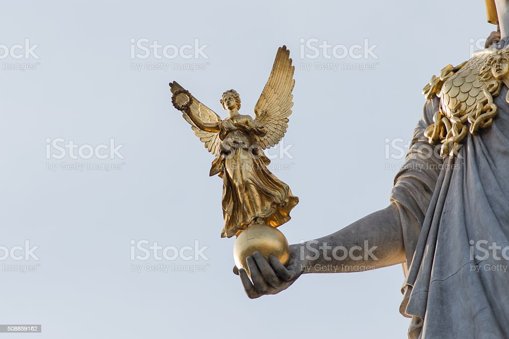 Pallas Athene Fountain, Vienna, Austria. stock photo