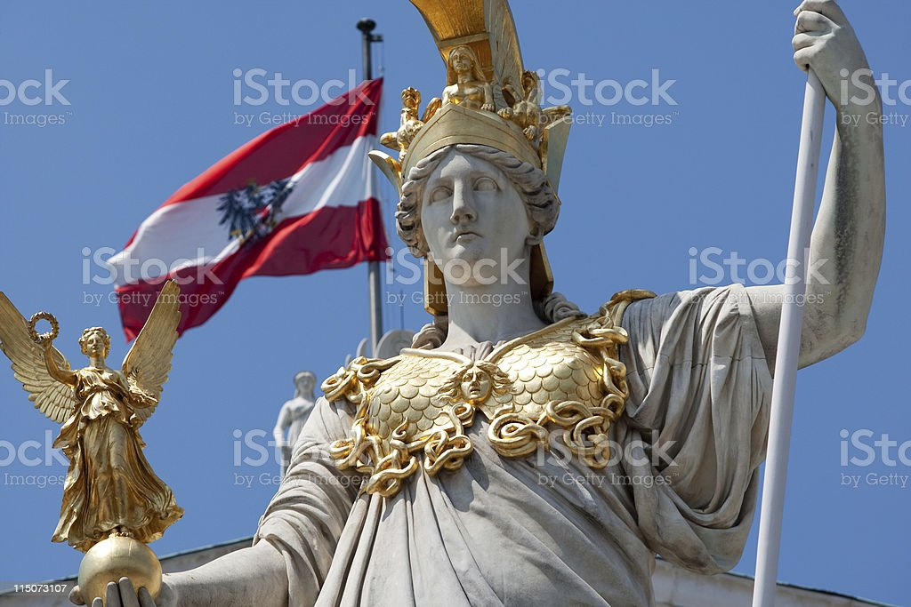 Pallas Athene in front of austrian parliament royalty-free stock photo