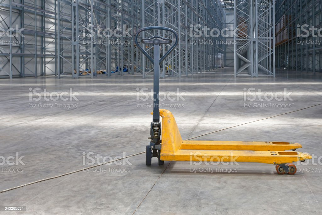 Pallet Jack Warehouse stock photo