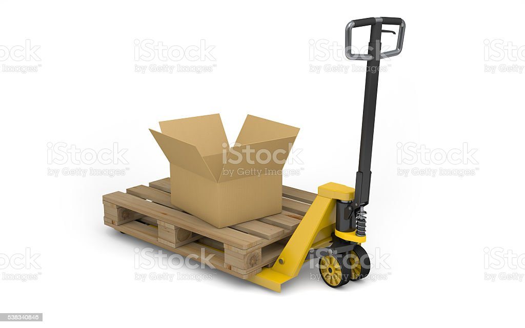 Pallet jack with pallet and cardboard box isolated on white stock photo