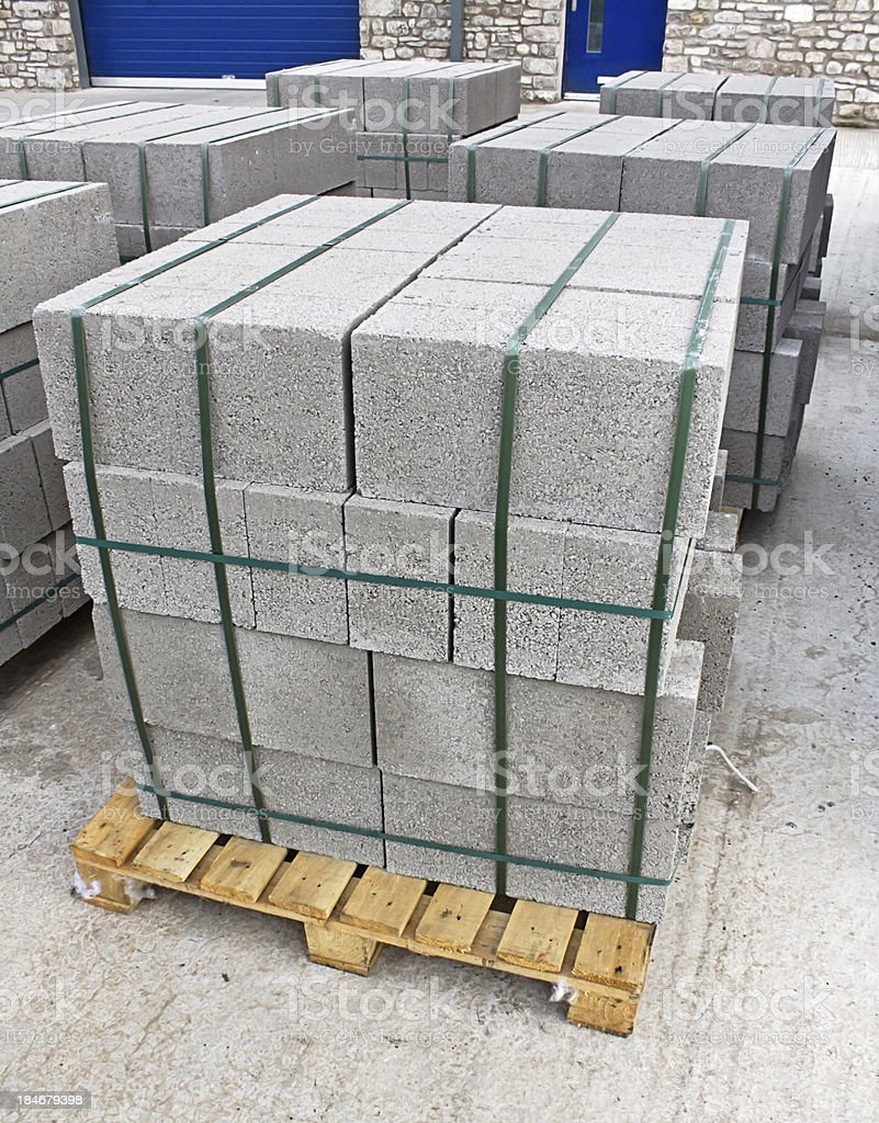 Pallet of breeze blocks stock photo