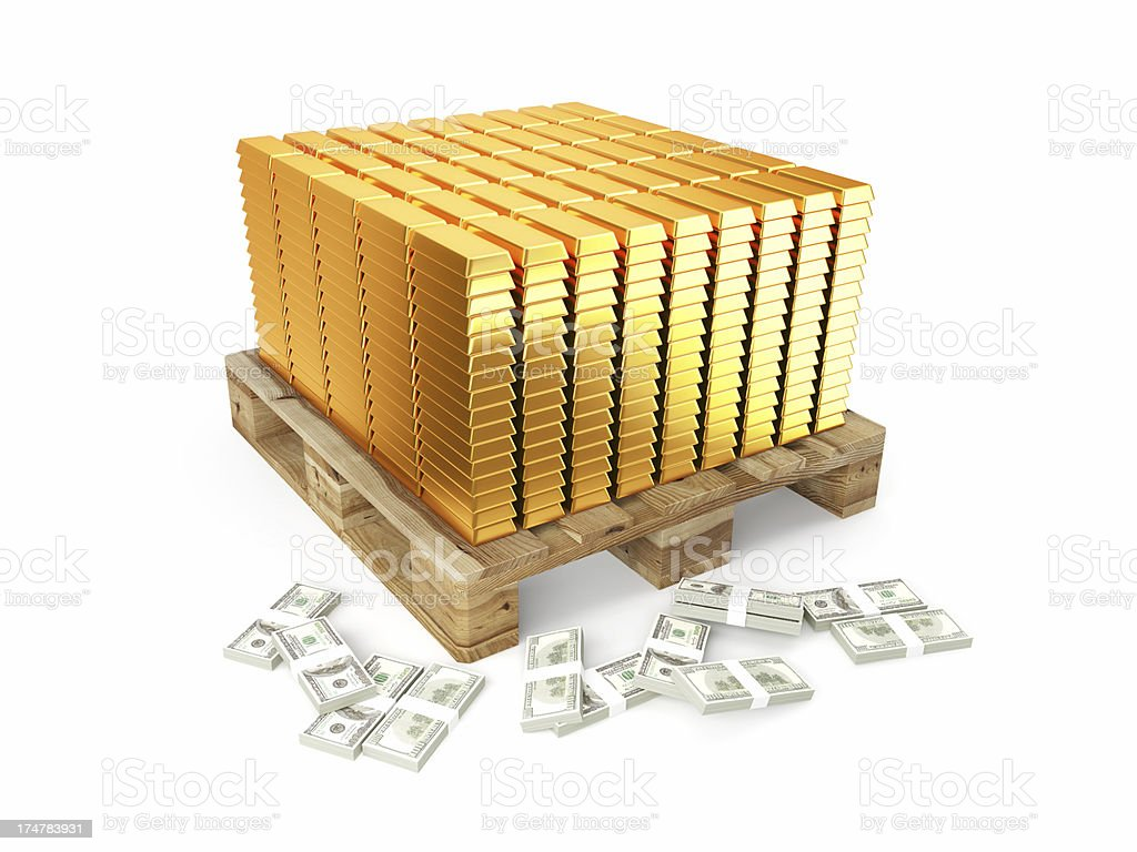 Pallet of Gold stock photo