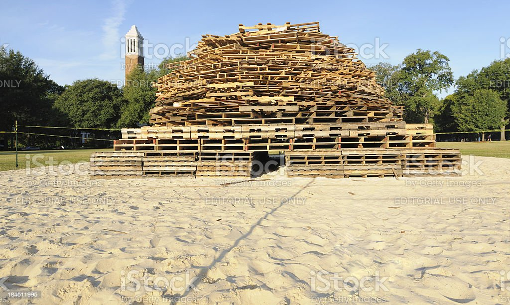 Pallet pile for homecoming bonfire on campus stock photo