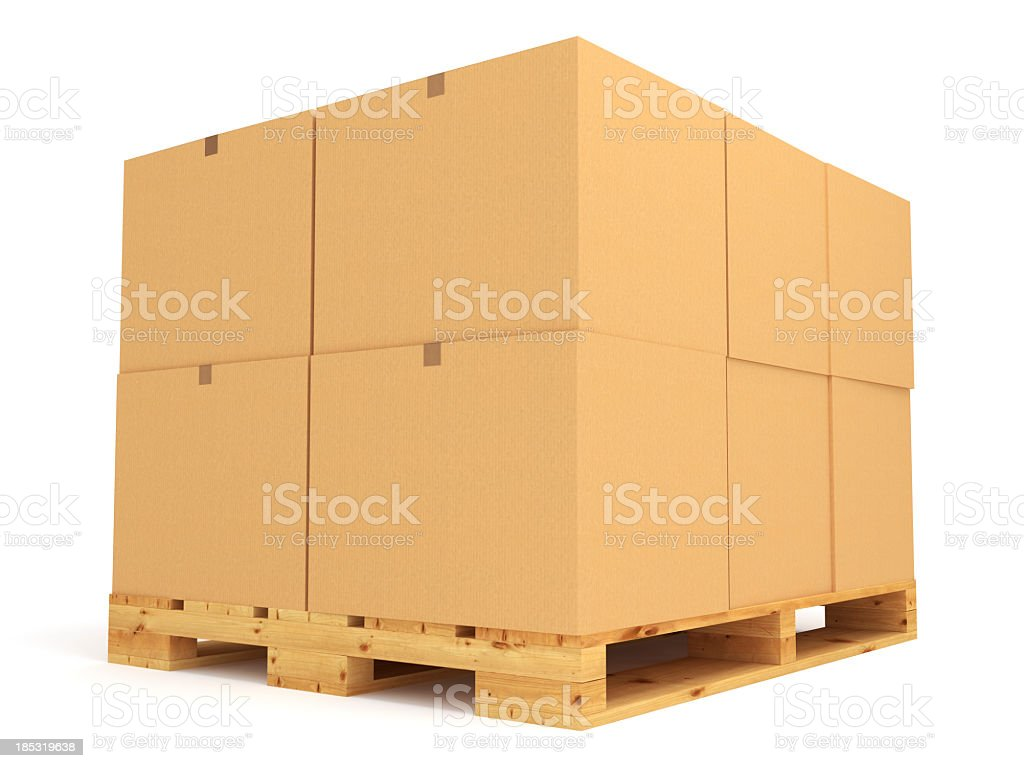 Pallet stacked with large cardboard boxes royalty-free stock photo