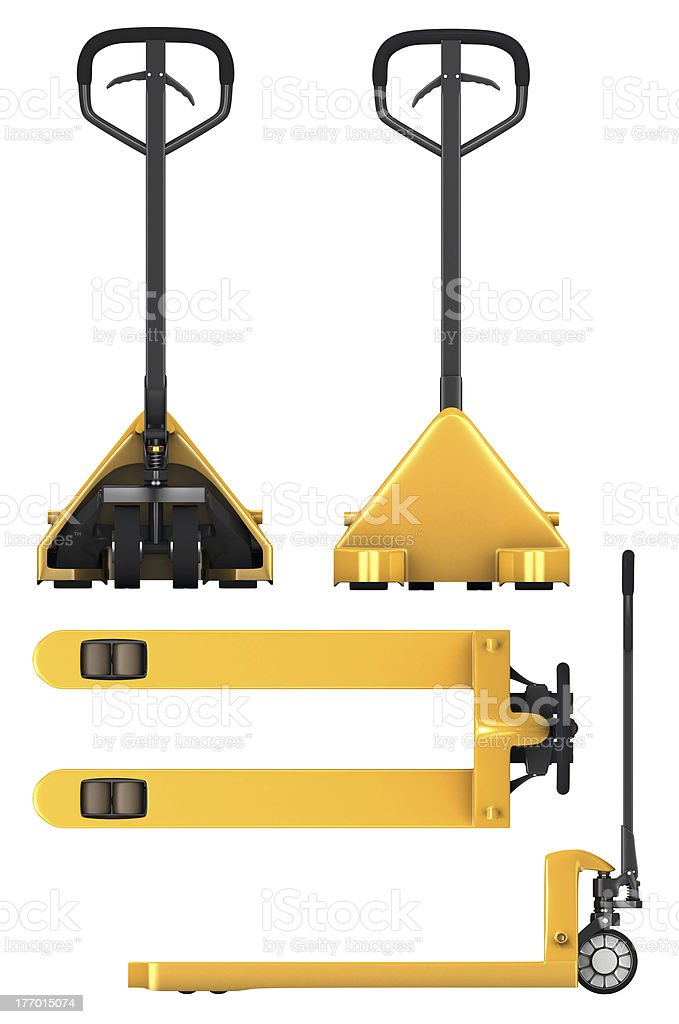 Pallet truck, four views stock photo