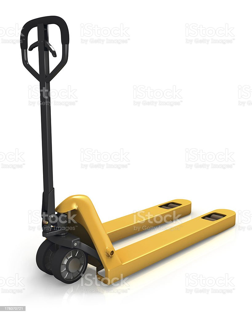 Pallet truck in perspective, rear view stock photo