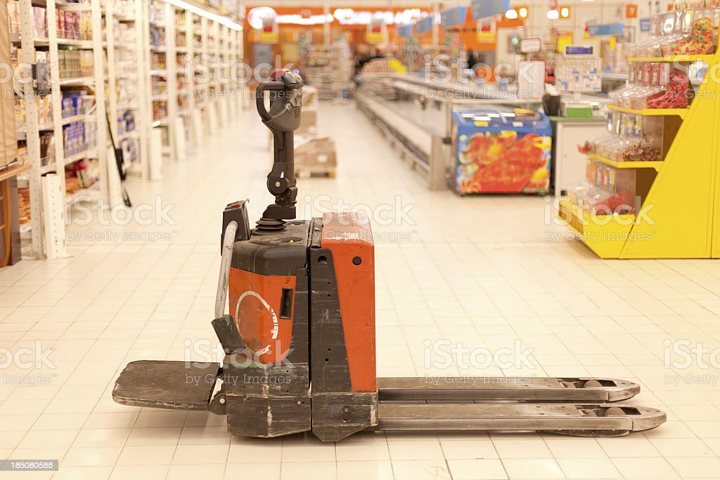 Pallet Truck in the mall royalty-free stock photo