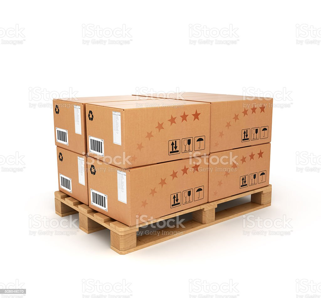 pallet with boxes stock photo