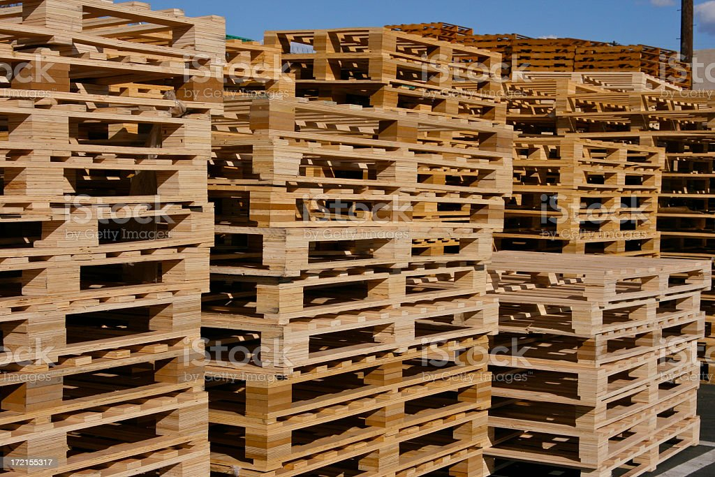 Pallets Piled High Stacked Pallet for Trucking,Manufacturing,Freight stock photo