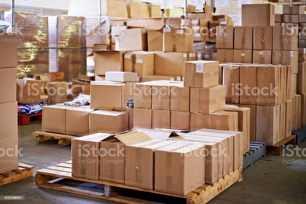Pallets ready to go stock photo