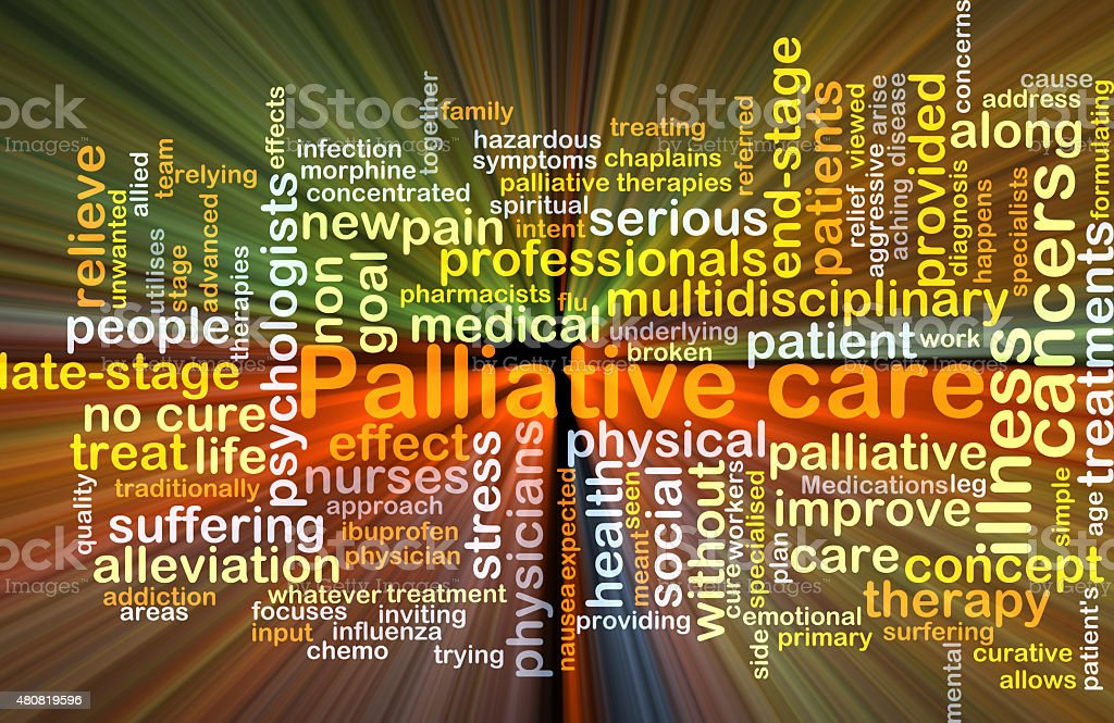 Palliative care background concept glowing stock photo