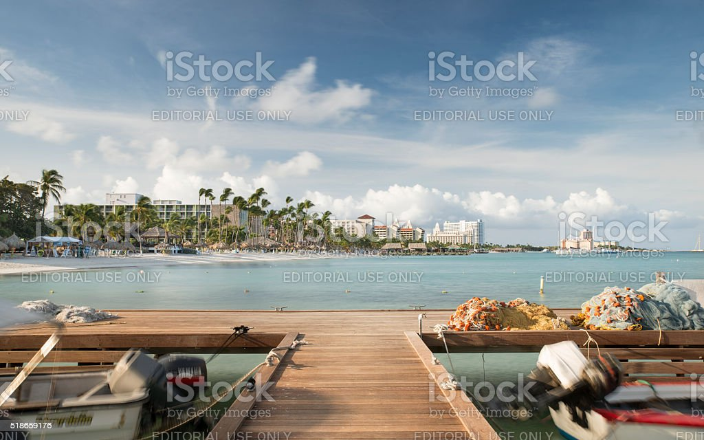 Palm Beach Aruba sunrise royalty-free stock photo