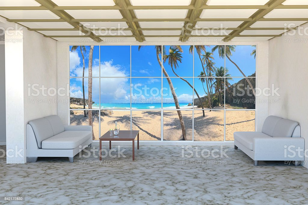 Palm beach house interior stock photo