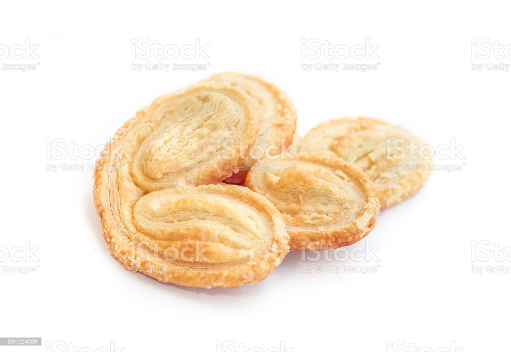 Palmier biscuits stock photo