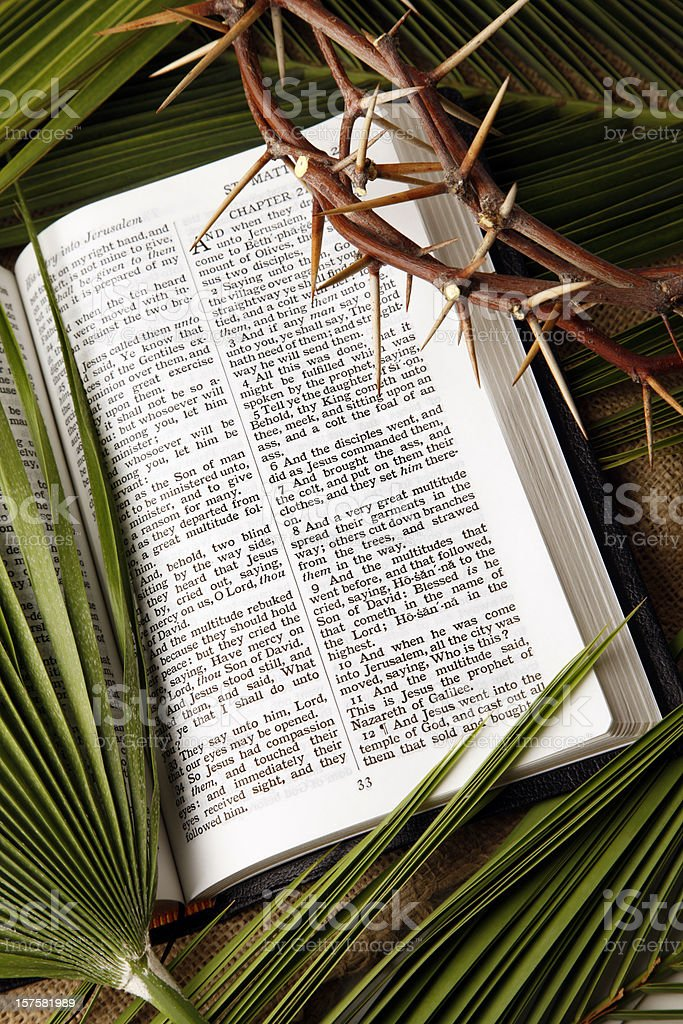 Palm Branches and Crown of Thorns with KJV Bible royalty-free stock photo