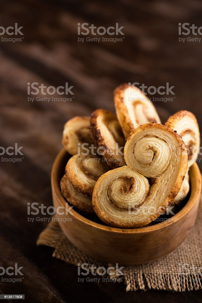 Palmier cookies stock photo