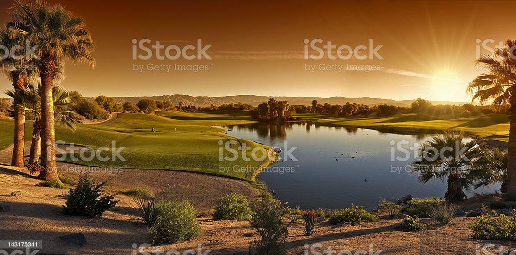 Palm Desert Golf Panorama Landscape stock photo