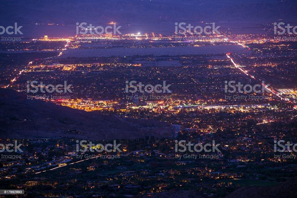 Palm Desert Night Panorama stock photo