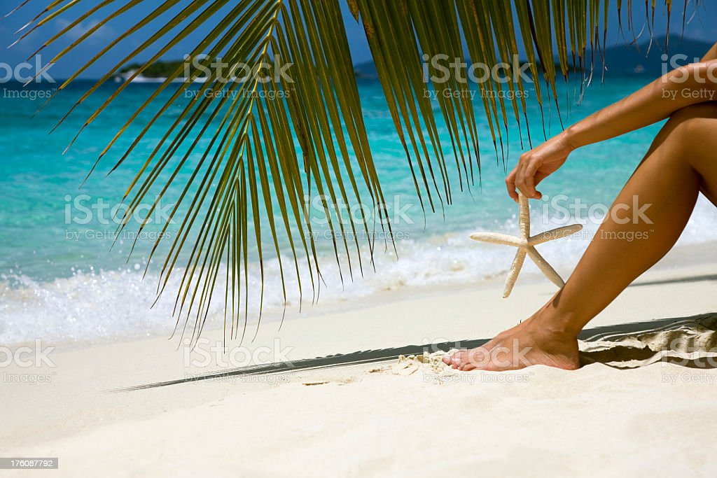 palm frond, woman and starfish royalty-free stock photo