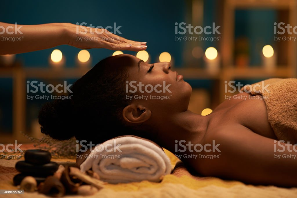 Palm healing stock photo