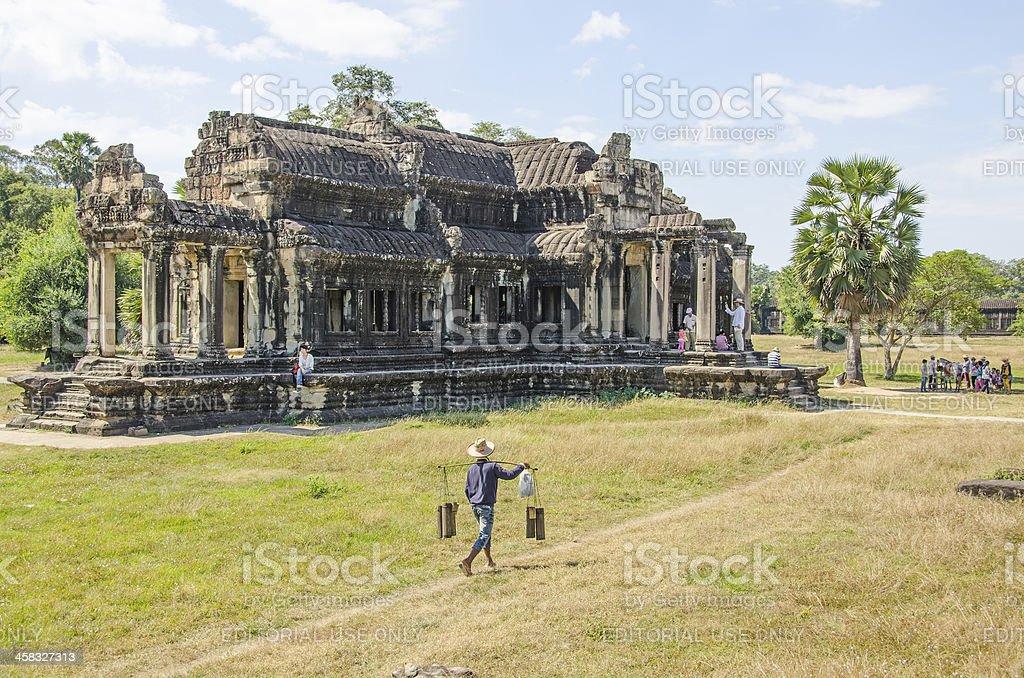 Palm juice vendor, Angkor Wat stock photo