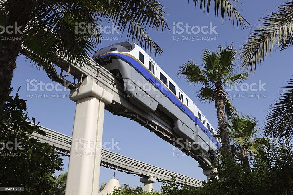 Palm Jumeirah Monorail train in Dubai royalty-free stock photo
