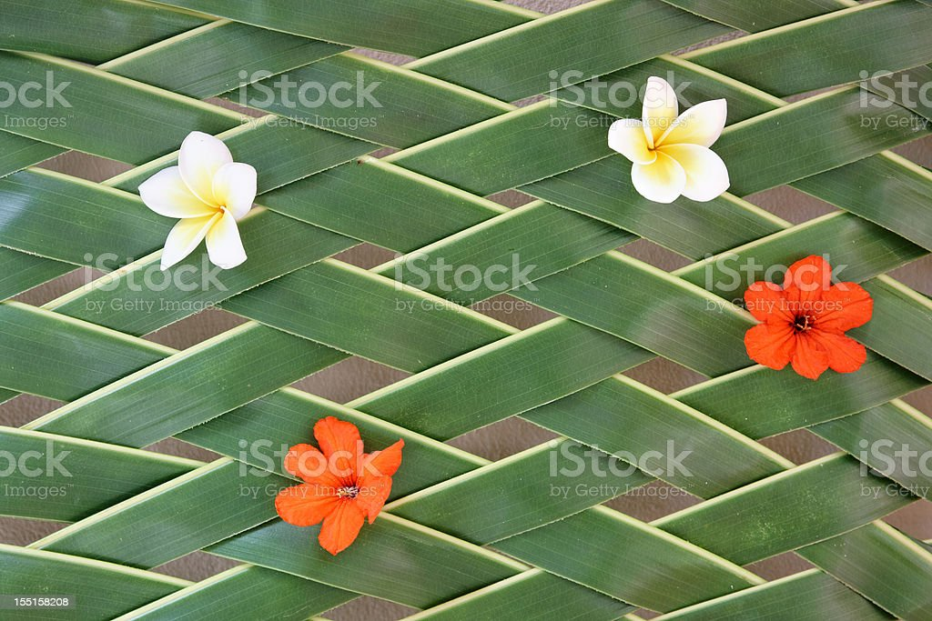 palm leaf pattern with flowers royalty-free stock photo
