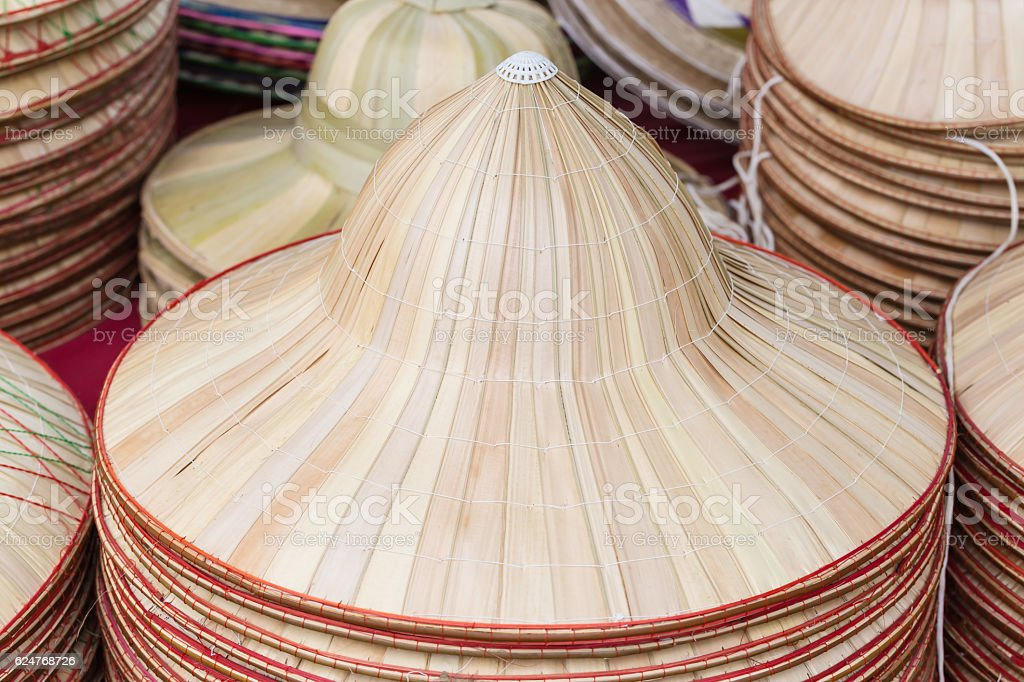palm Leave hat in the market stock photo