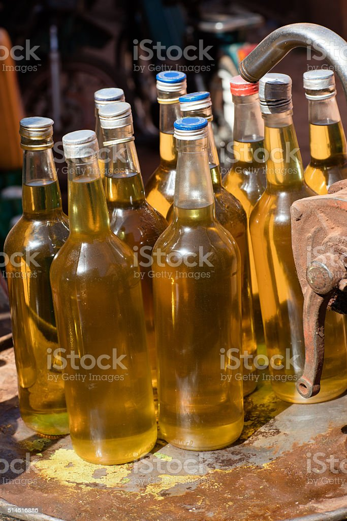Palm oil bottles stock photo