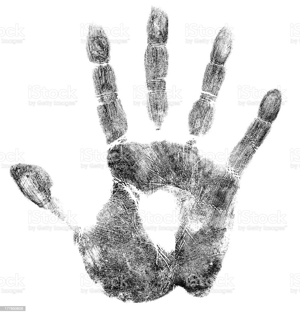Palm or hand print isolated on white royalty-free stock photo