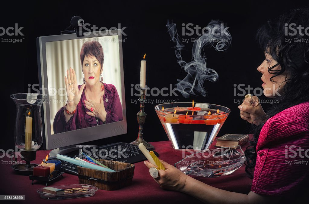 Palm reading online stock photo
