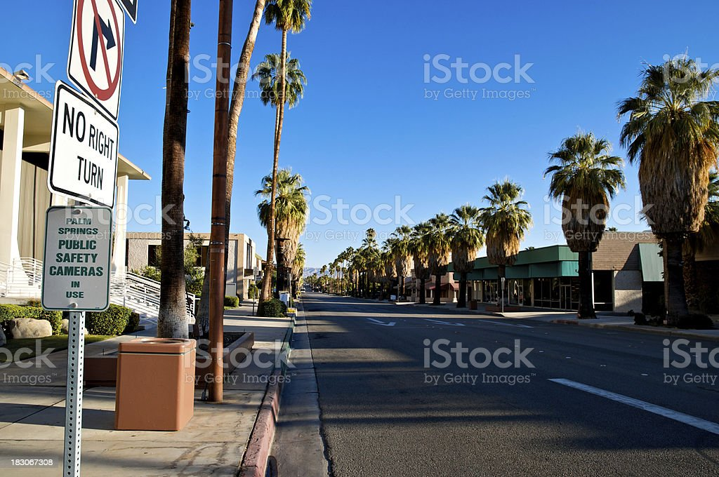Palm Springs in early morning sunlight and shadow stock photo