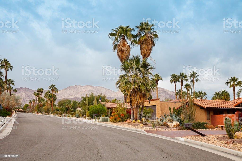 Palm Springs residential street stock photo