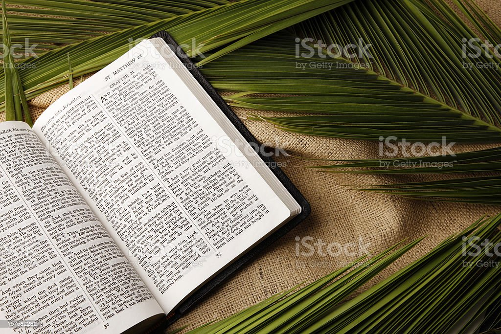 Palm Sunday Bible and Palms Branches stock photo