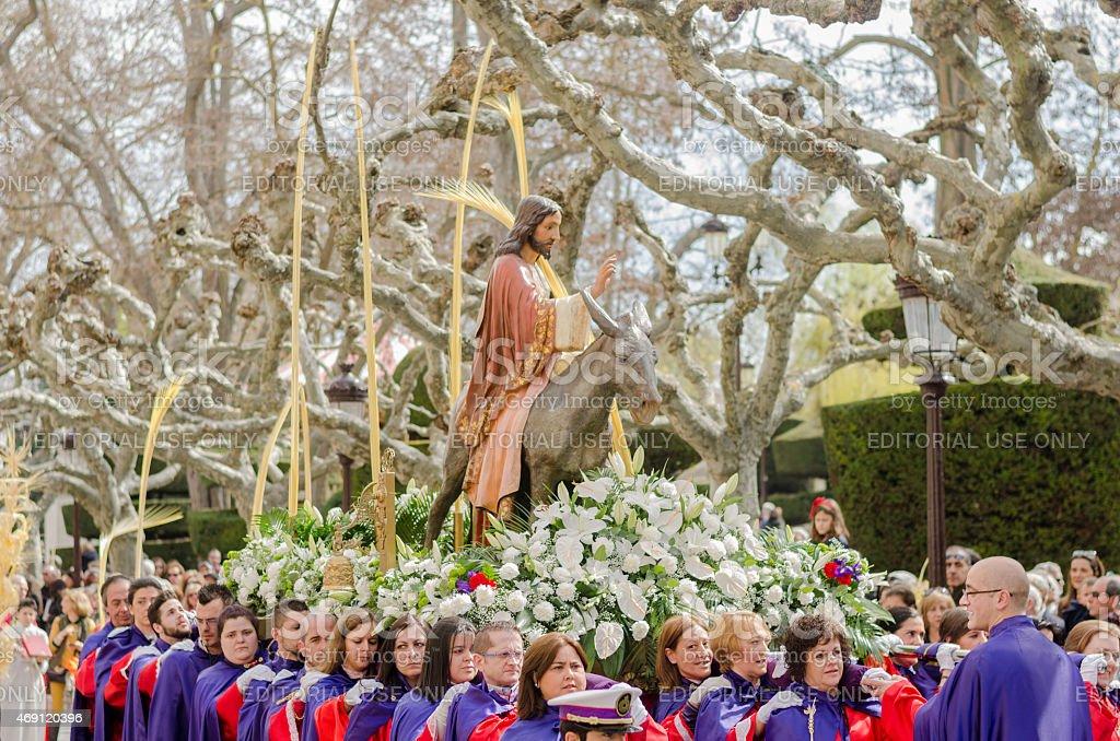 Palm Sunday, Jesus on a donkey. stock photo